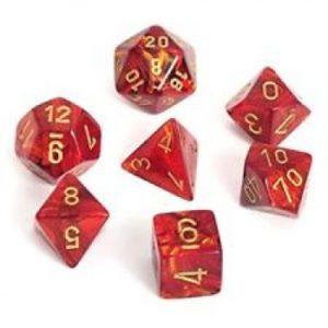 Scarab Scarlet w/gold Signature Polyhedral 7-Die Set