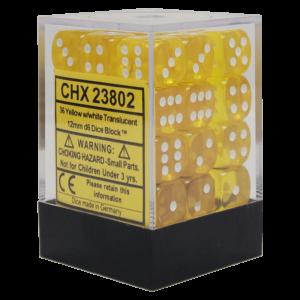 Translucent Yellow/white 12mm d6 Dice Block (36 Dice)