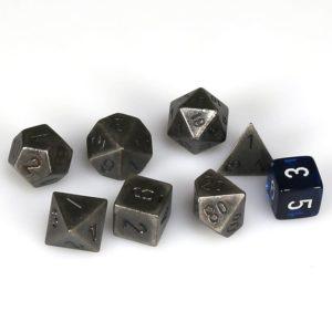 Solid Metal Dark Metal Color Polyhedral 7-Die Set
