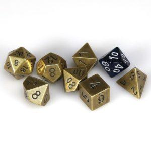 Solid Metal Old Brass Color Polyhedral 7-Die Set