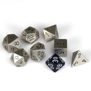 Solid Metal Silver Color Polyhedral 7-Die Set
