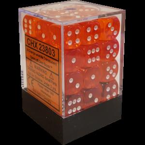 Translucent Orange/white 12mm d6 Dice Block (36 Dice)
