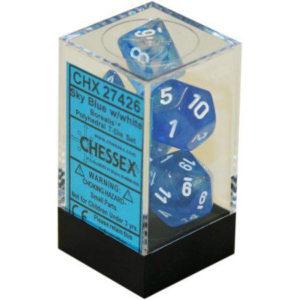 Borealis Sky Blue/white Polyhedral 7-Die Set